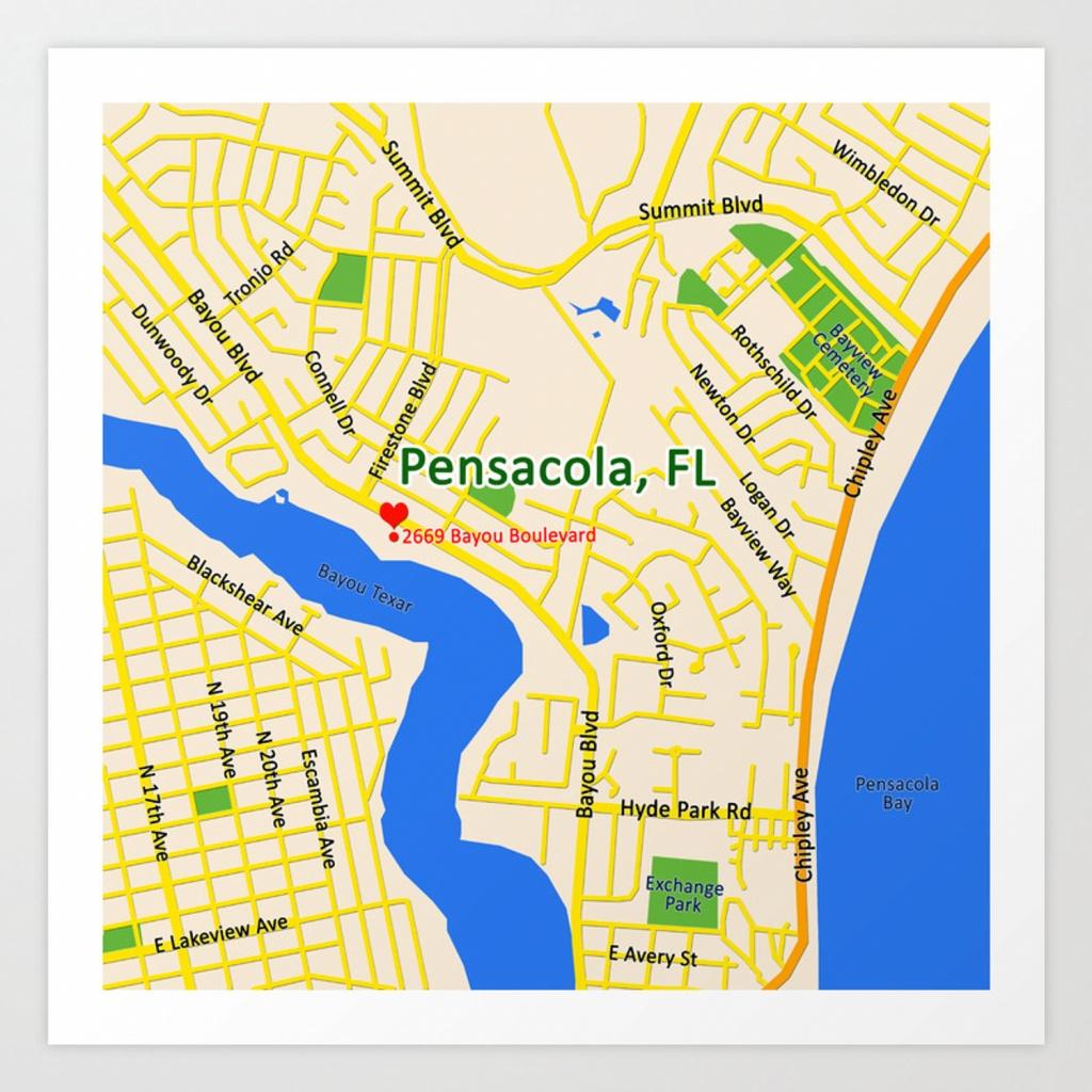 Map Of Pensacola, Fl Art Printefratul   Society6 - Where Is Pensacola Florida On A Map