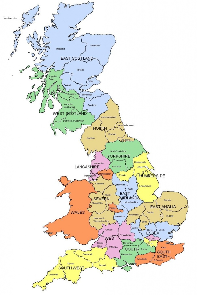 Map Of Regions And Counties Of England, Wales, Scotland. I Know Is - Printable Map Of England And Scotland