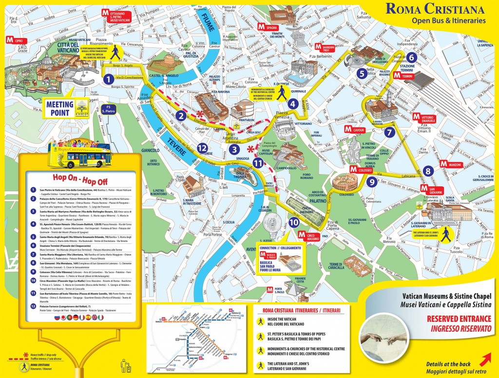 Map Of Rome Tourist Attractions, Sightseeing & Tourist Tour - Street Map Of Rome Printable