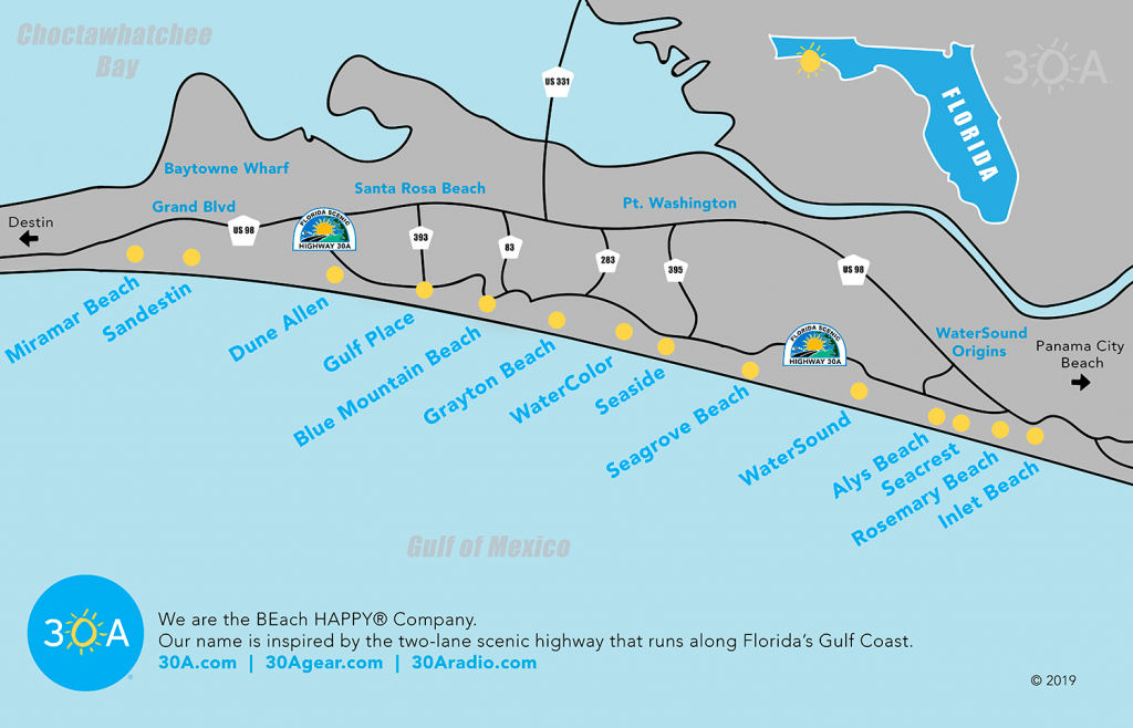 Map Of Scenic 30A And South Walton, Florida - 30A - Inlet Beach Florida Map