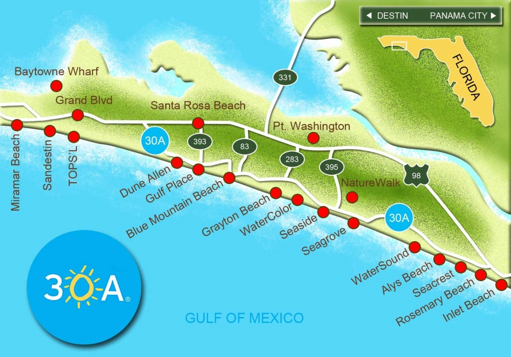 Map Of Scenic Highway 30A/south Walton, Fl Beaches   Florida: The - Map Of Watercolor And Seaside Florida