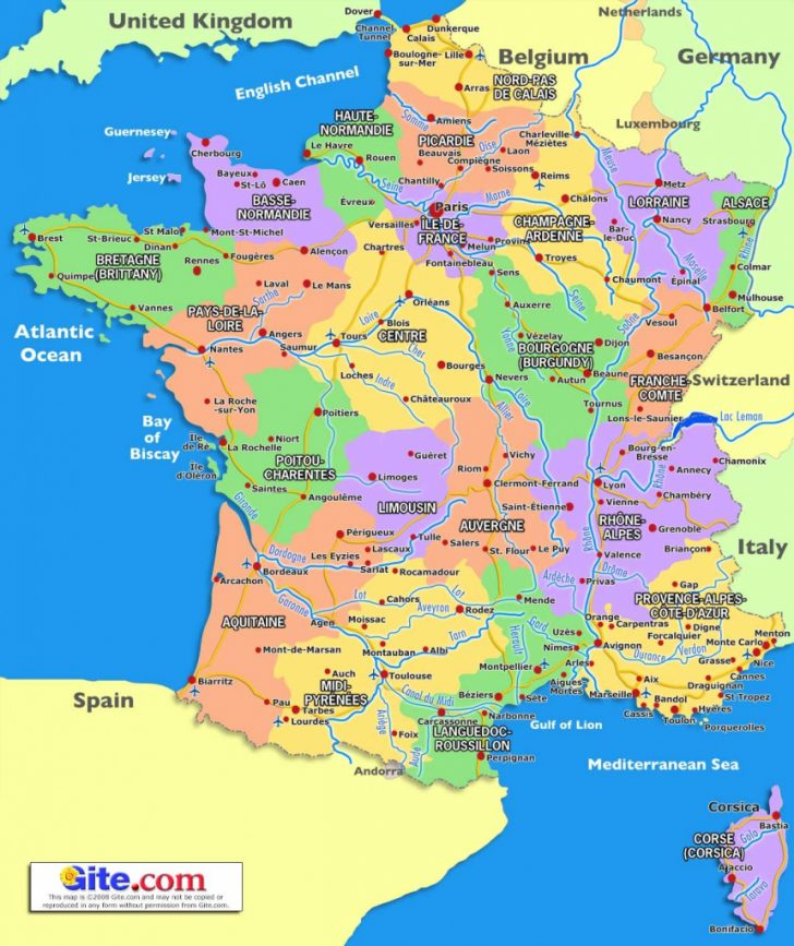 Printable Map Of France With Cities And Towns