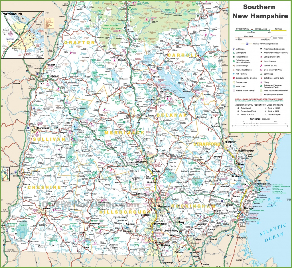 Map Of Southern New Hampshire - New Hampshire State Map Printable