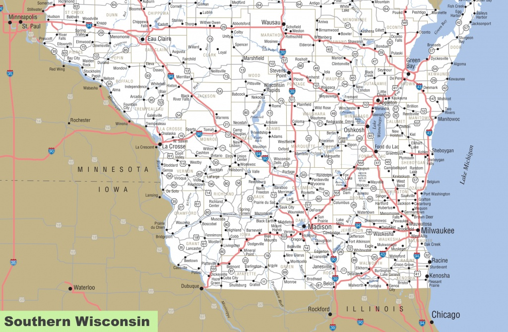 Map Of Southern Wisconsin - Printable Map Of Wisconsin Cities