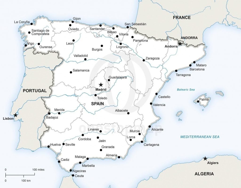 Map Of Spain Political | Travel | Map Of Spain, Map Vector, Map - Printable Map Of Spain Pdf