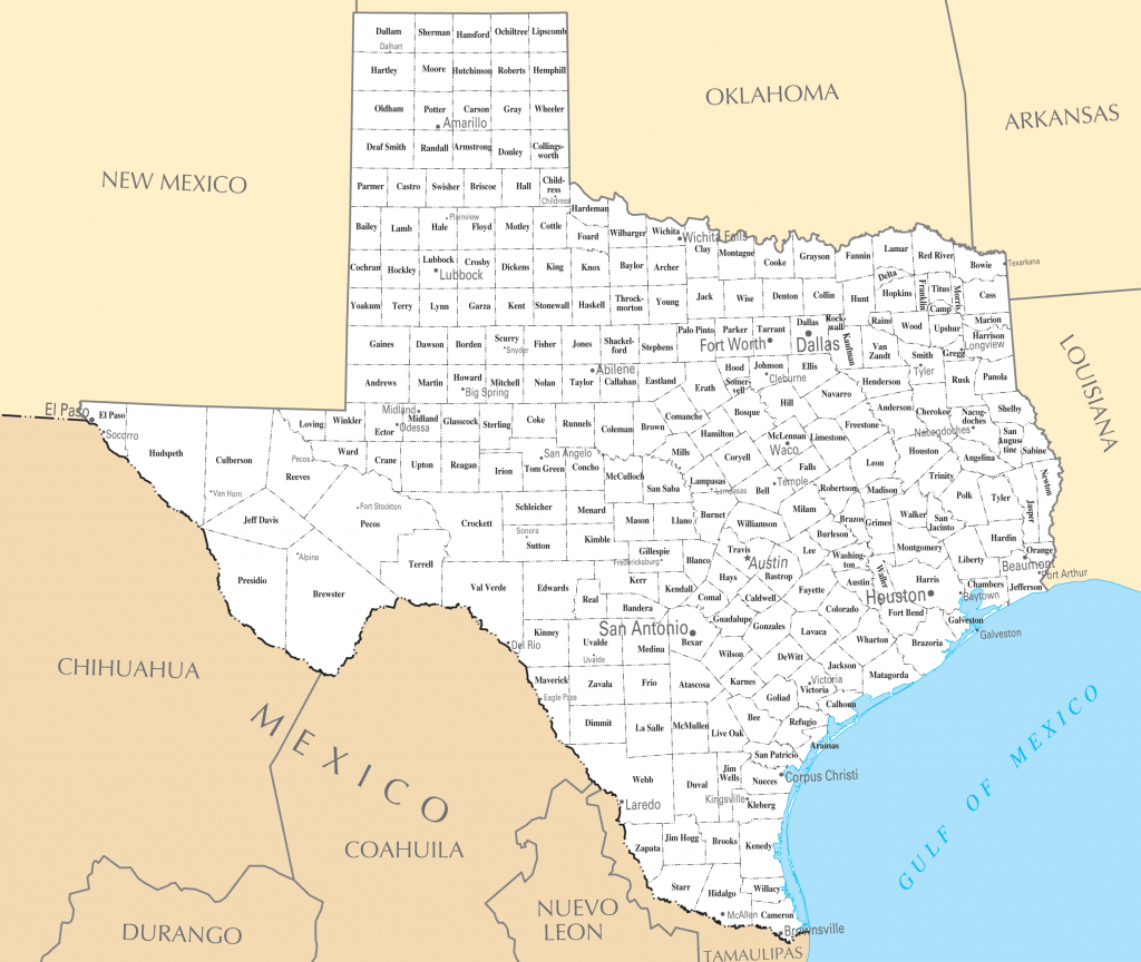 Map Of Texas Cities And Roads And Travel Information | Download Free - Road Map Of Texas Cities And Towns