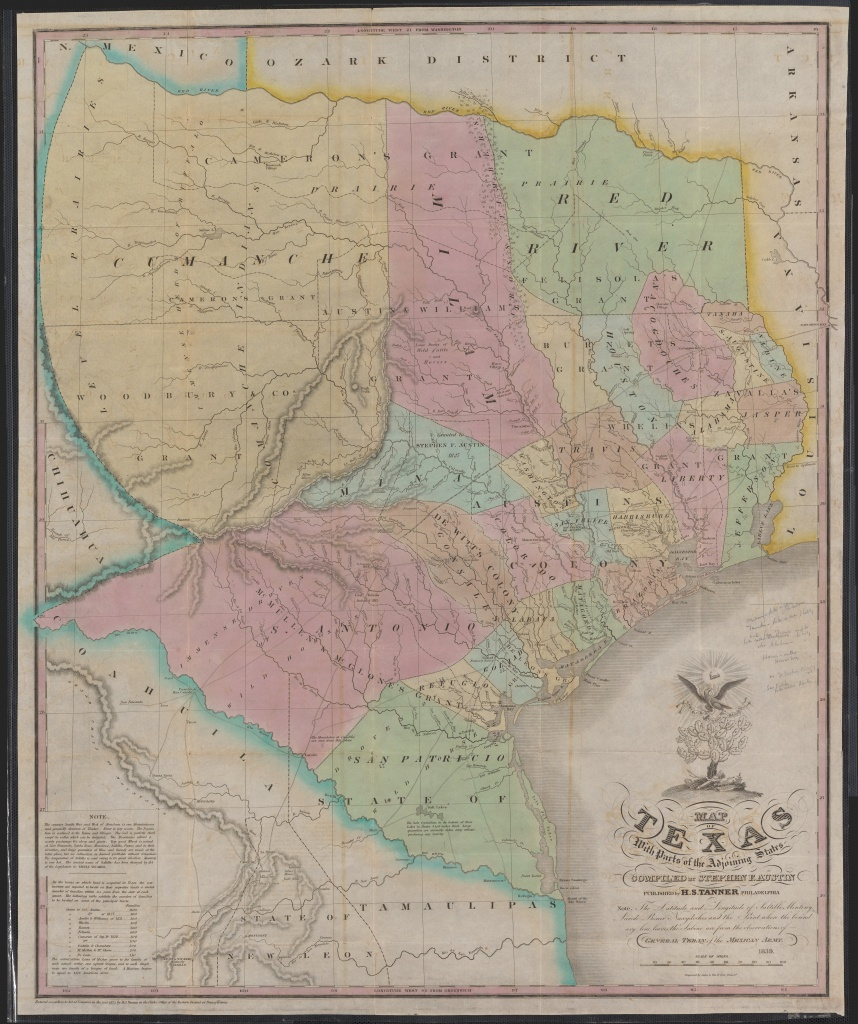 Map Of Texas Compiledstephen F. Austin (1839) : Mapporn - Stephen F Austin Map Of Texas
