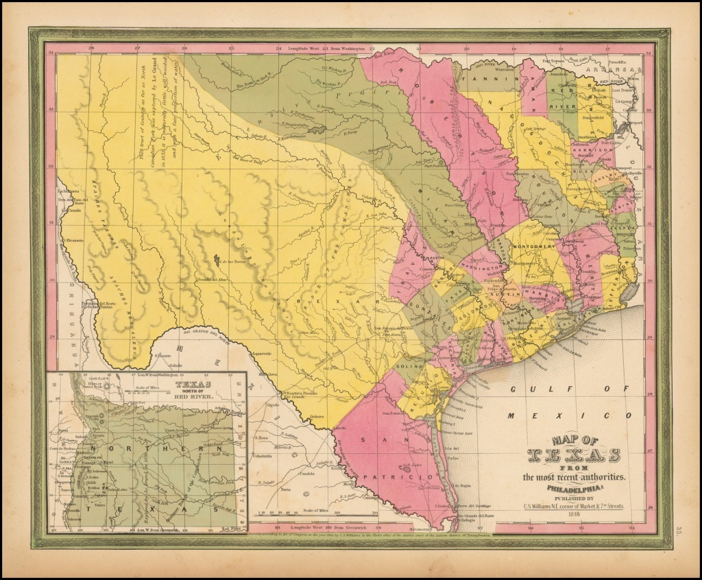 Map Of Texas From The Most Recent Authorities . . . 1846 - Barry - Texas Map 1846