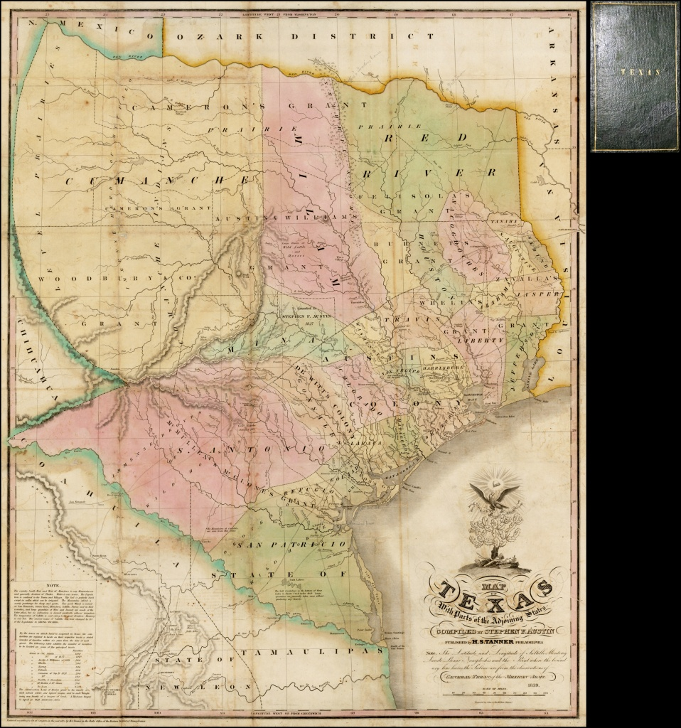Map Of Texas With Parts Of The Adjoining States Compiledstephen - Map Of Spanish Land Grants In South Texas
