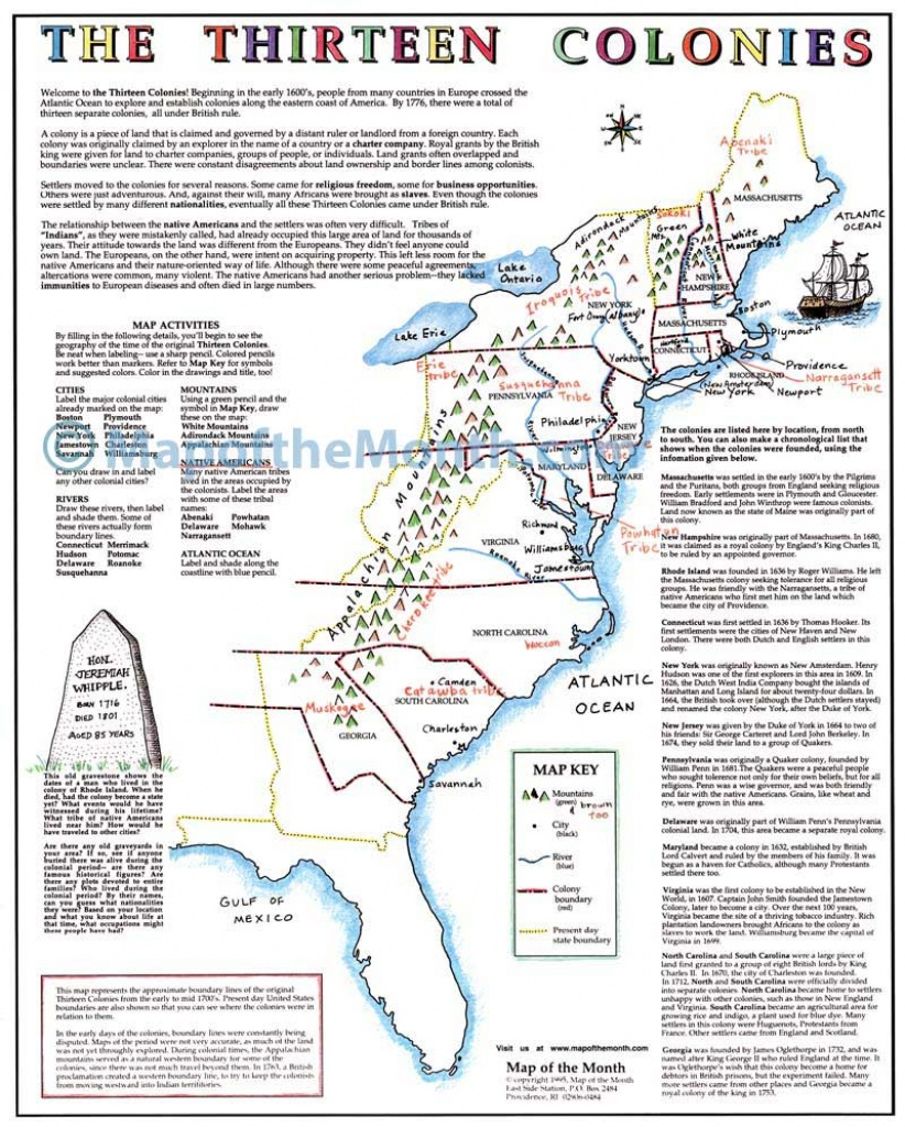 Map Of The 13 Colonies And Cities And Travel Information   Download - Printable Map Of The 13 Colonies With Names