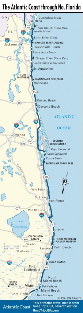 Map Of The Atlantic Coast Through Northern Florida.   Florida A1A - Map Of Florida Coast Beaches