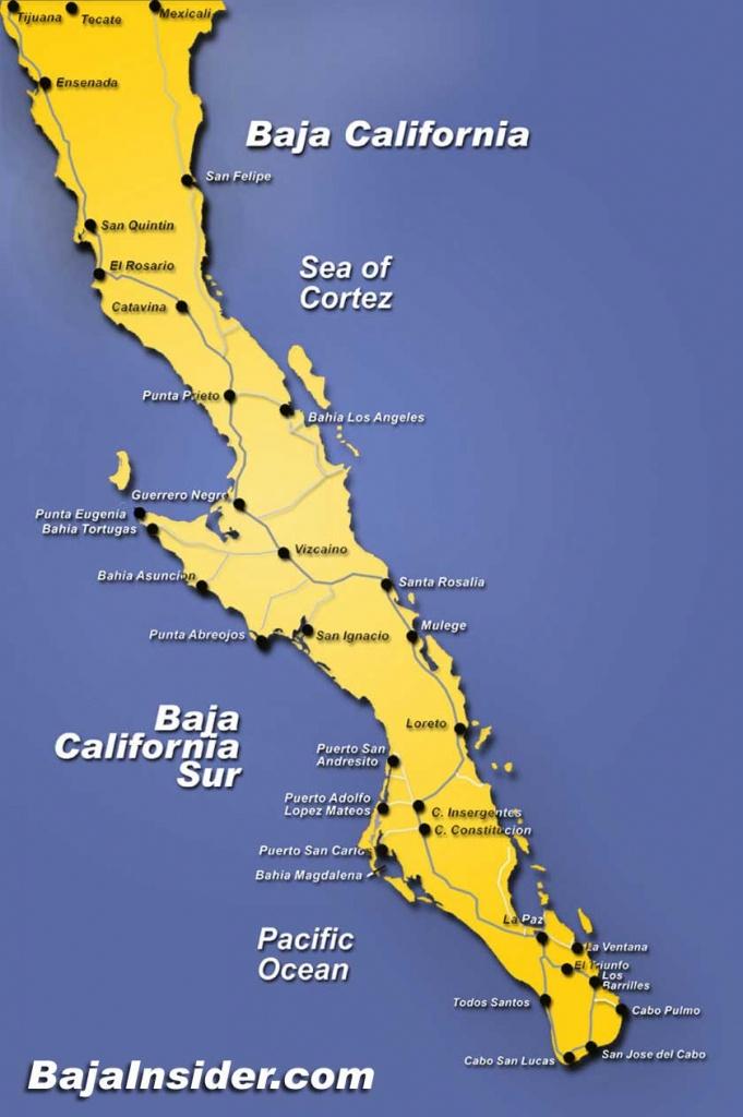 Map Of The Baja California Peninsula Of Mexico | Bajainsider - Map Of California And Mexico Coast