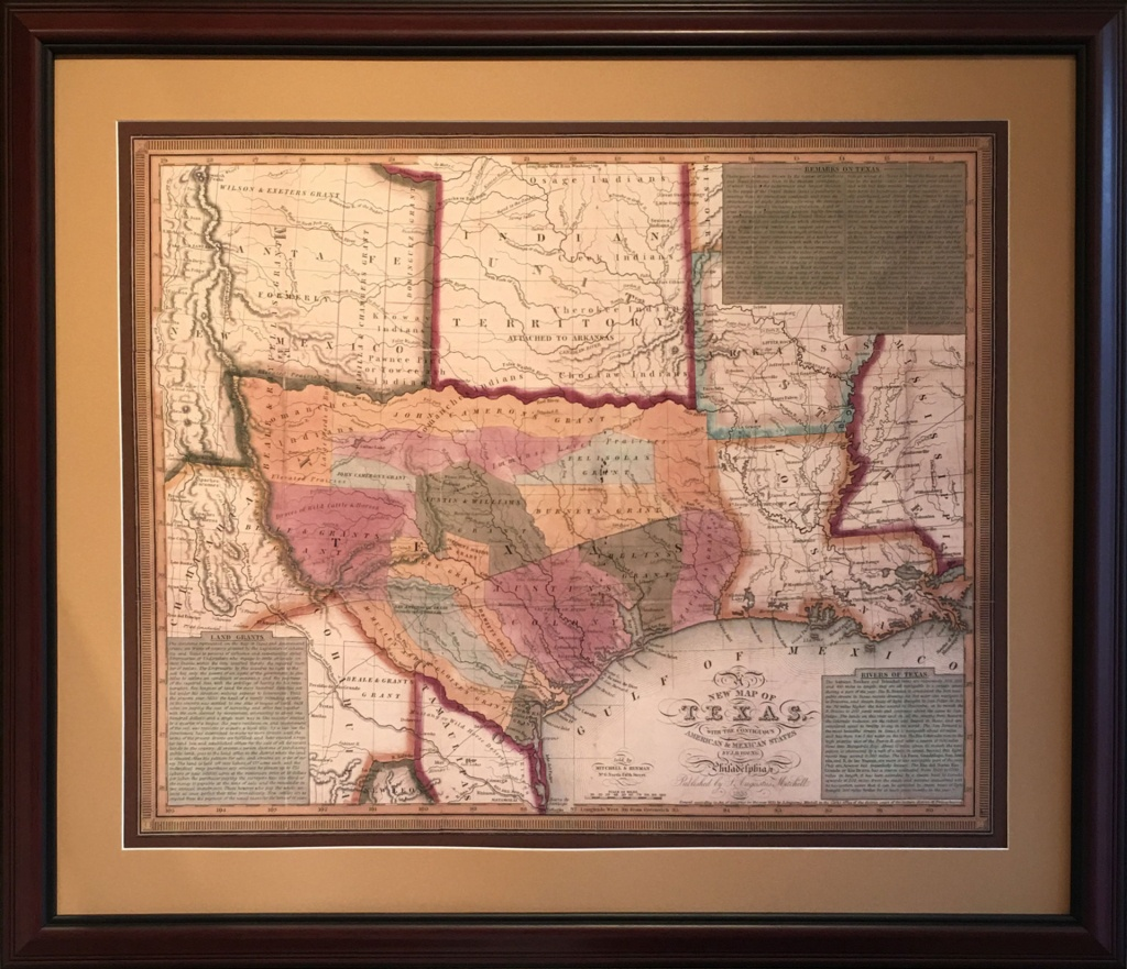 Map Of The Early Texas Land Grants - Gallery Of The Republic - Framed Texas Map