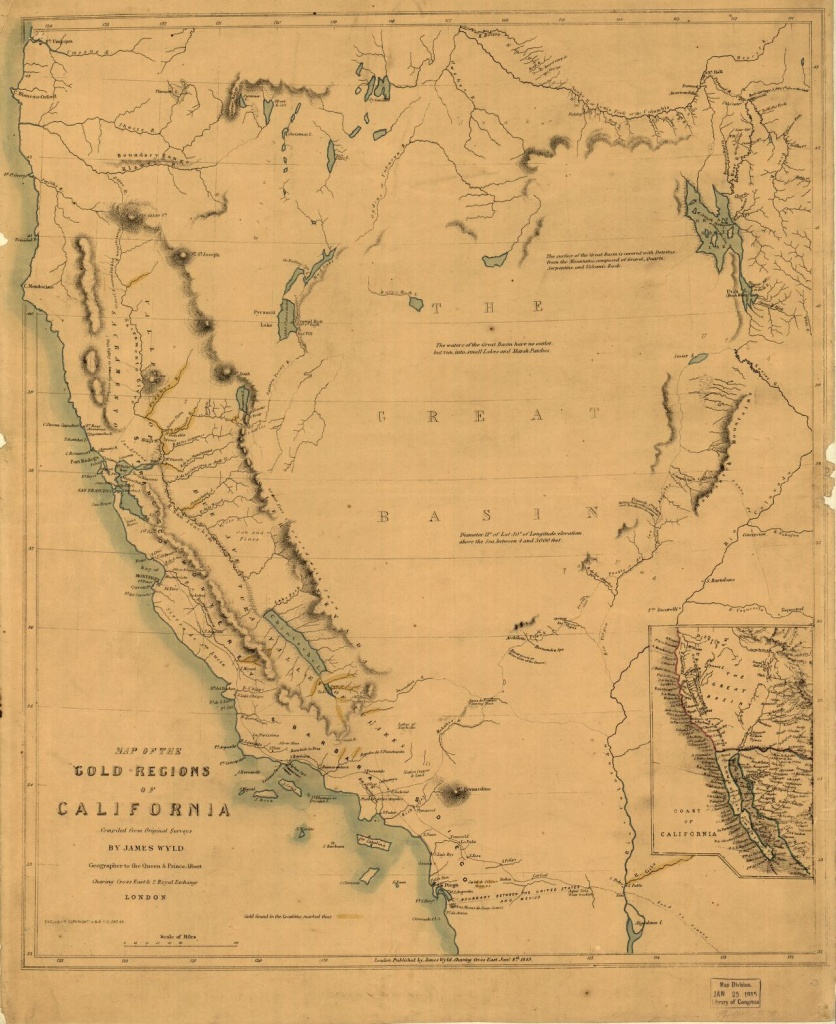 Map Of The Gold Regions Of California.   Library Of Congress - California Gold Prospecting Map