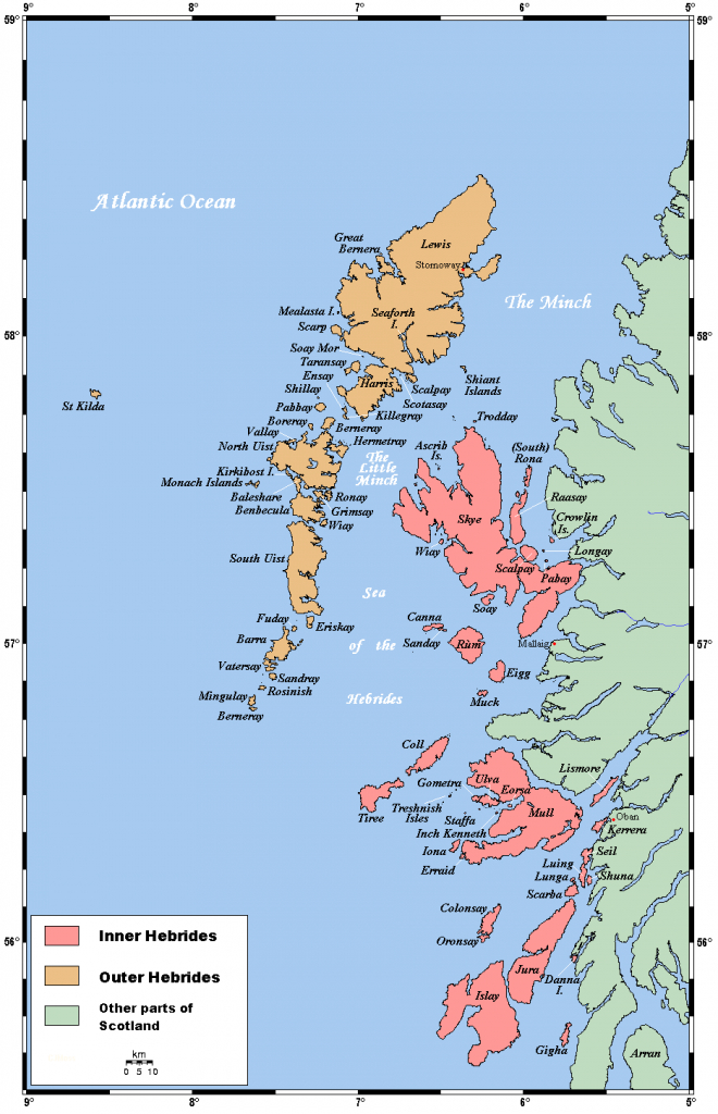 Map Of The Inner And Outer Hebrides Off Of The West Coast Of - Printable Map Of Mull