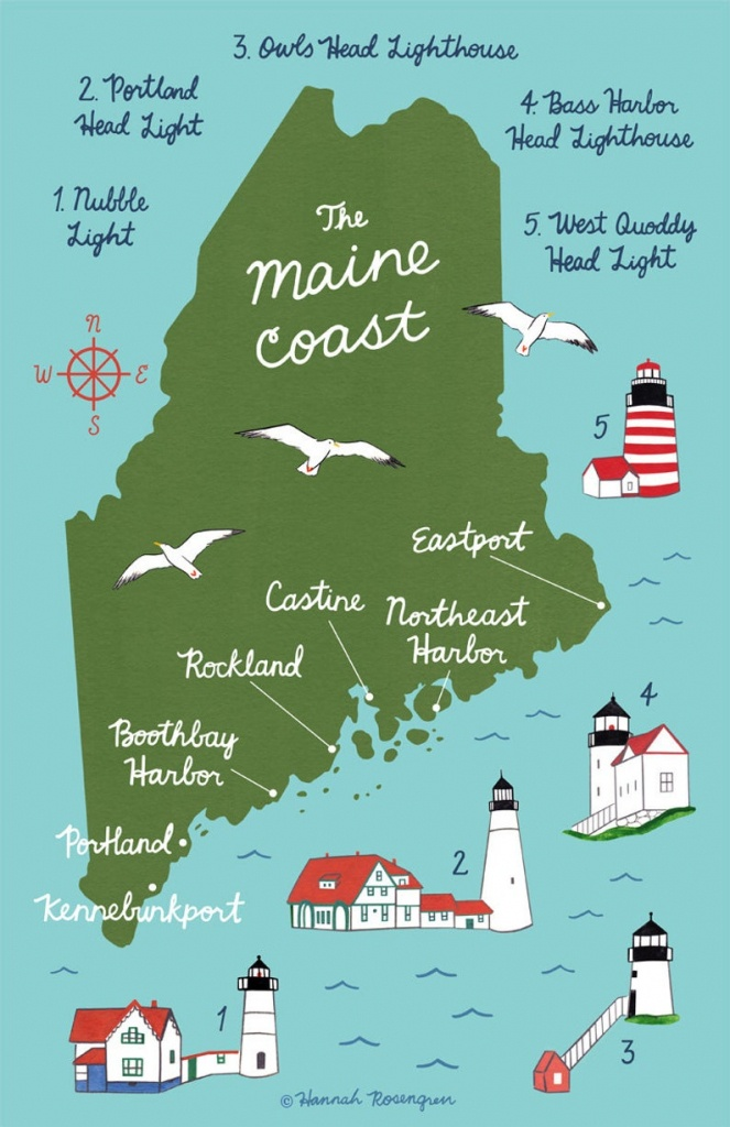 Map Of The Maine Coast 11X17 Poster   Etsy - Printable Map Of Maine Lighthouses