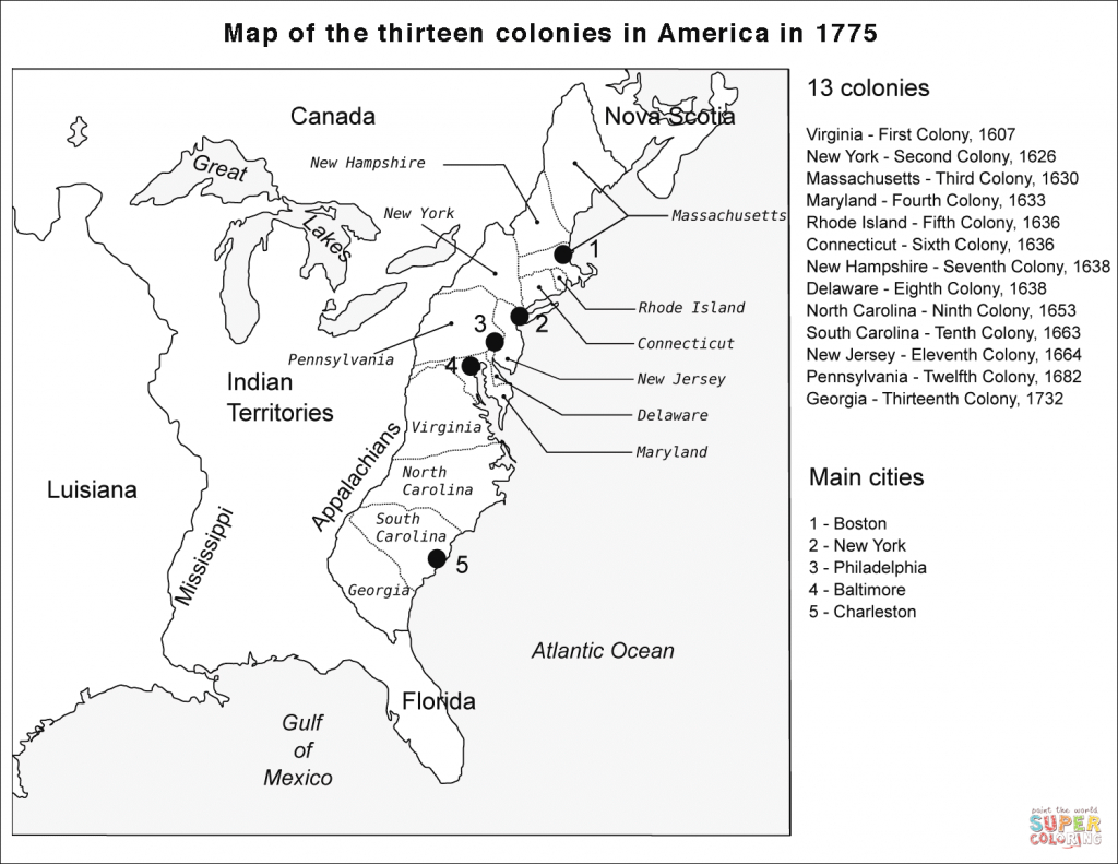 Map Of The Thirteen Colonies With Cities #82171 - Printable Map Of The 13 Colonies With Names