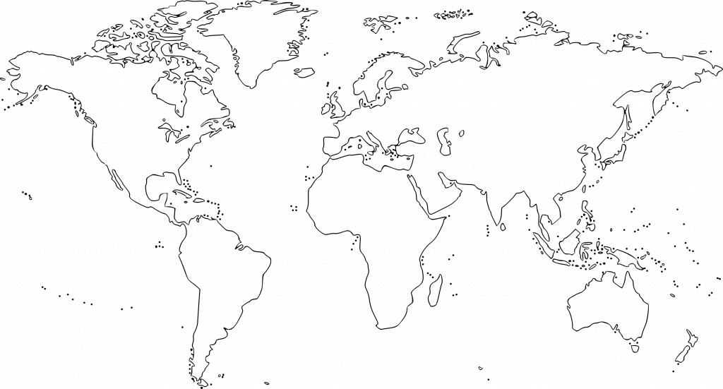 Map Of The World For Kids Black And White And Travel Information - World Map Black And White Printable