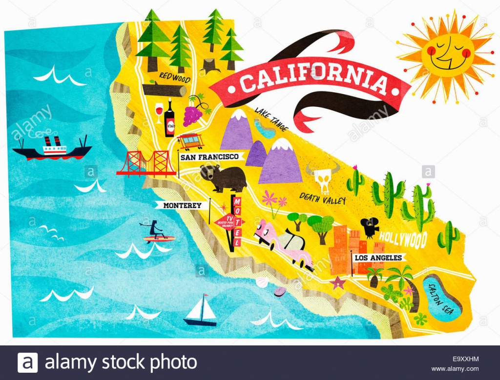 Map Of Tourist Attractions In California Stock Photo: 74965008 - Alamy - California Sightseeing Map