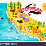 Map Of Tourist Attractions In California Stock Photo: 74965008   Alamy   California Tourist Attractions Map