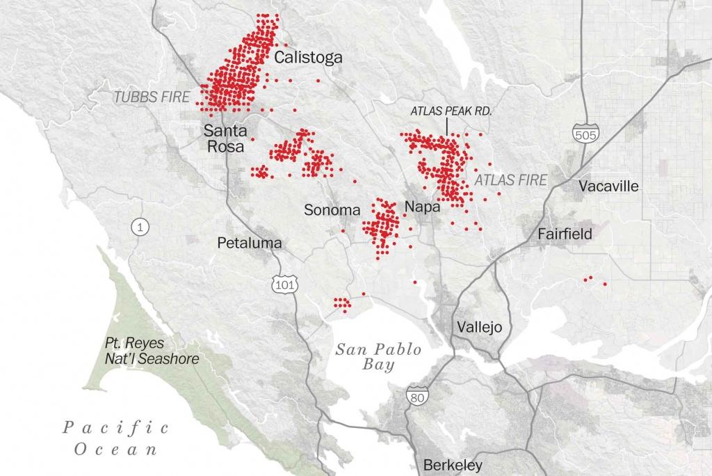 Map Of Tubbs Fire Santa Rosa - Washington Post - Northern California Fire Map