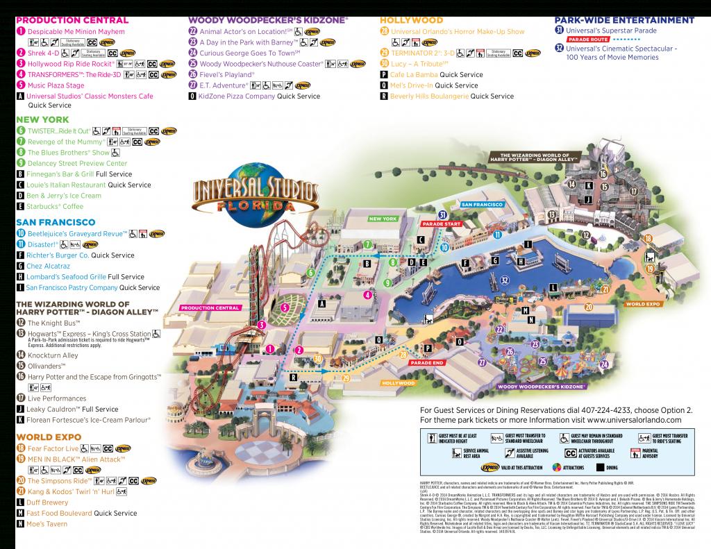 Map Of Universal Studios, Orlando Florida 2015 - 1✓ , 2✓ , 3 - Universal Studios Florida Map