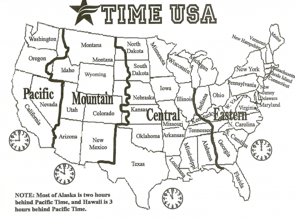 Map Of Us With Time Zones | Sitedesignco - Printable Usa Map With States And Timezones