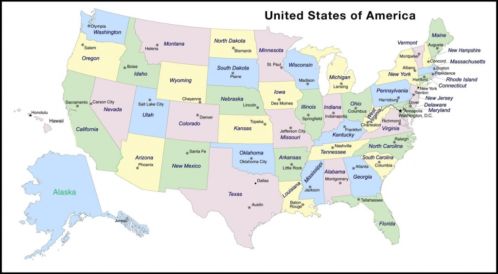 Map Of Usa Capitals | D1Softball - Printable Map Of Us Capitals