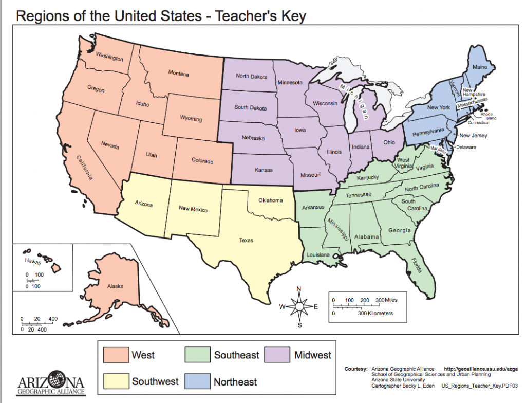 Map: Regions Of The United States   Thirdgradetroop   Teaching - Map Of The United States By Regions Printable