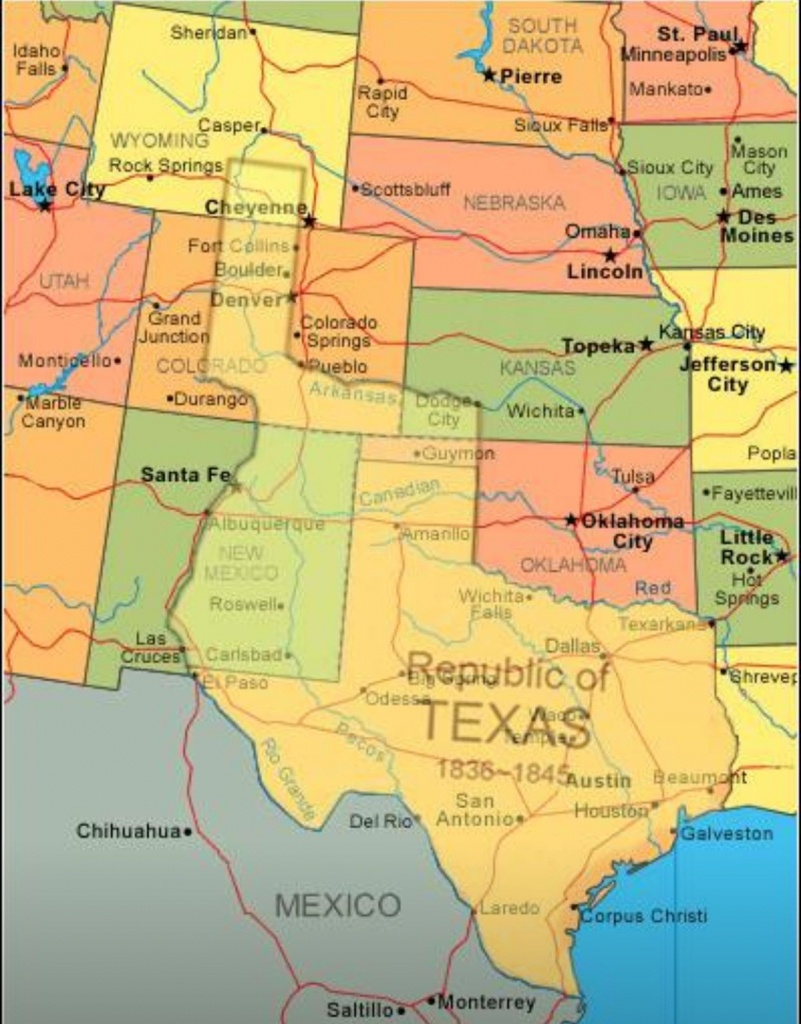 Map Showing Current Usa With The Republic Of Texas Superimposed - Republic Of Texas Map