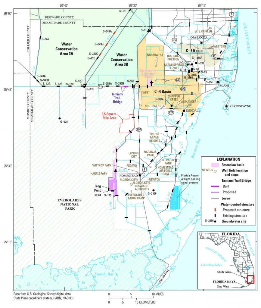 Map Showing Location Of The Study Area, Miami-Dade County, Florida - Map Of Miami Florida And Surrounding Areas