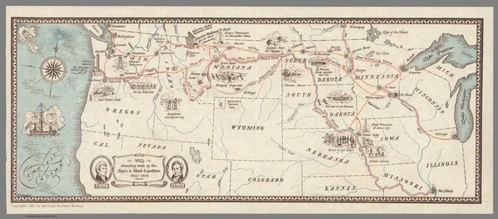 Map Showing Route Of The Lewis & Clark Expedition 1804-1806. - David - Lewis And Clark Printable Map