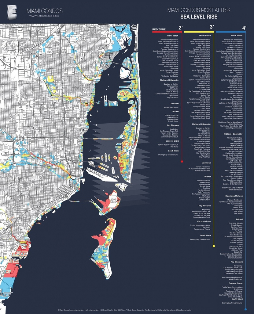 Map Shows Miami Condos Most Threatenedsea-Level Rise | Miami New - South Florida Sea Level Rise Map