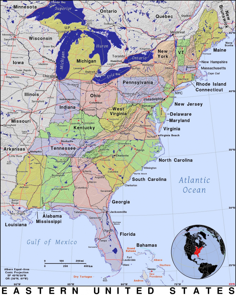 Map Usa East Coast States Capitals | World Map - Printable Map Of East Coast