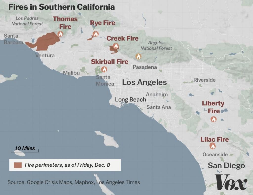Map: Where Southern California's Massive Blazes Are Burning - Vox - Riverside California Fire Map