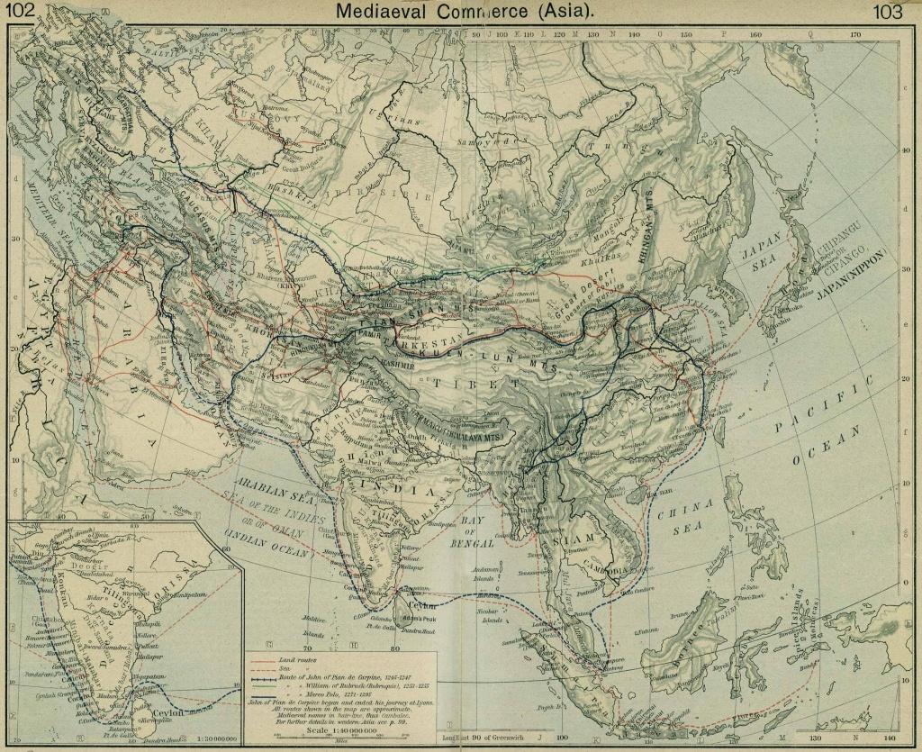 Maps & Atlas - Silk Road Trade Routes Map - Silk Road Map Printable