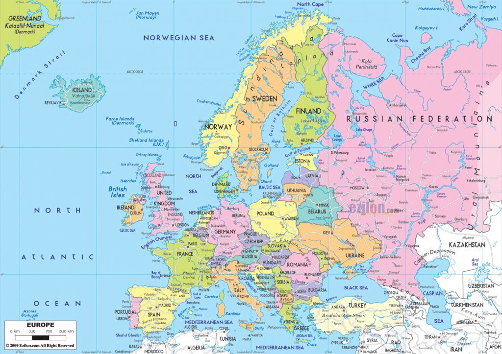 Maps Of Europe   Map Of Europe In English   Political - Europe Map With Cities Printable