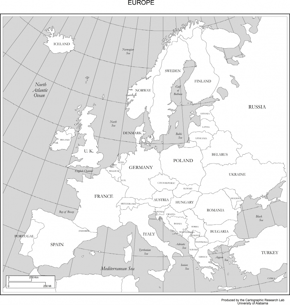 Maps Of Europe - Printable Black And White Map Of Europe
