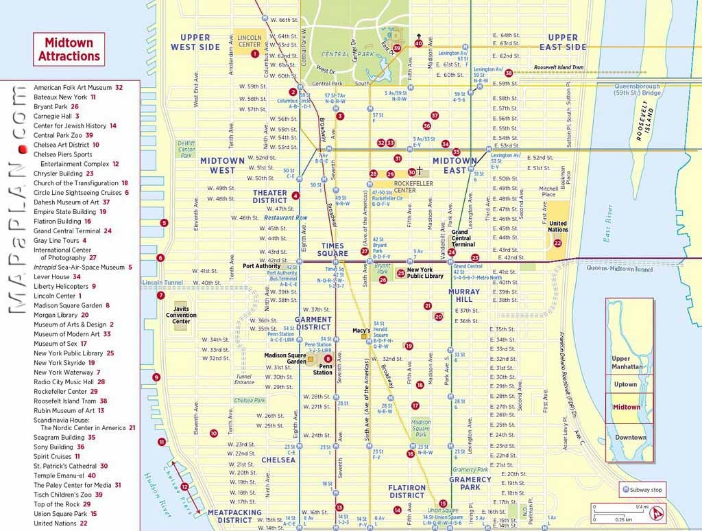 Maps Of New York Top Tourist Attractions - Free, Printable - Manhattan Map With Attractions Printable