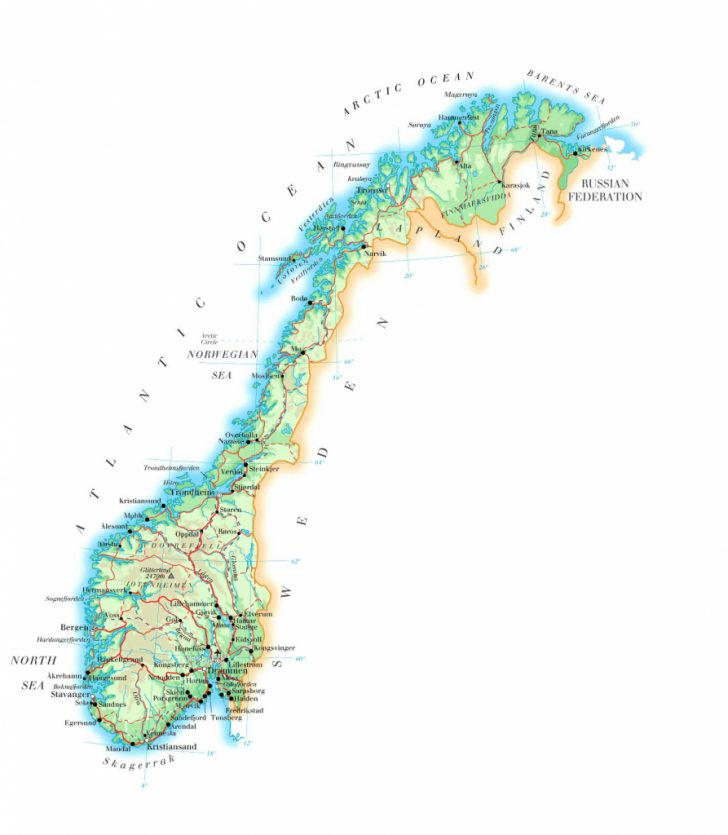 Printable Map Of Norway