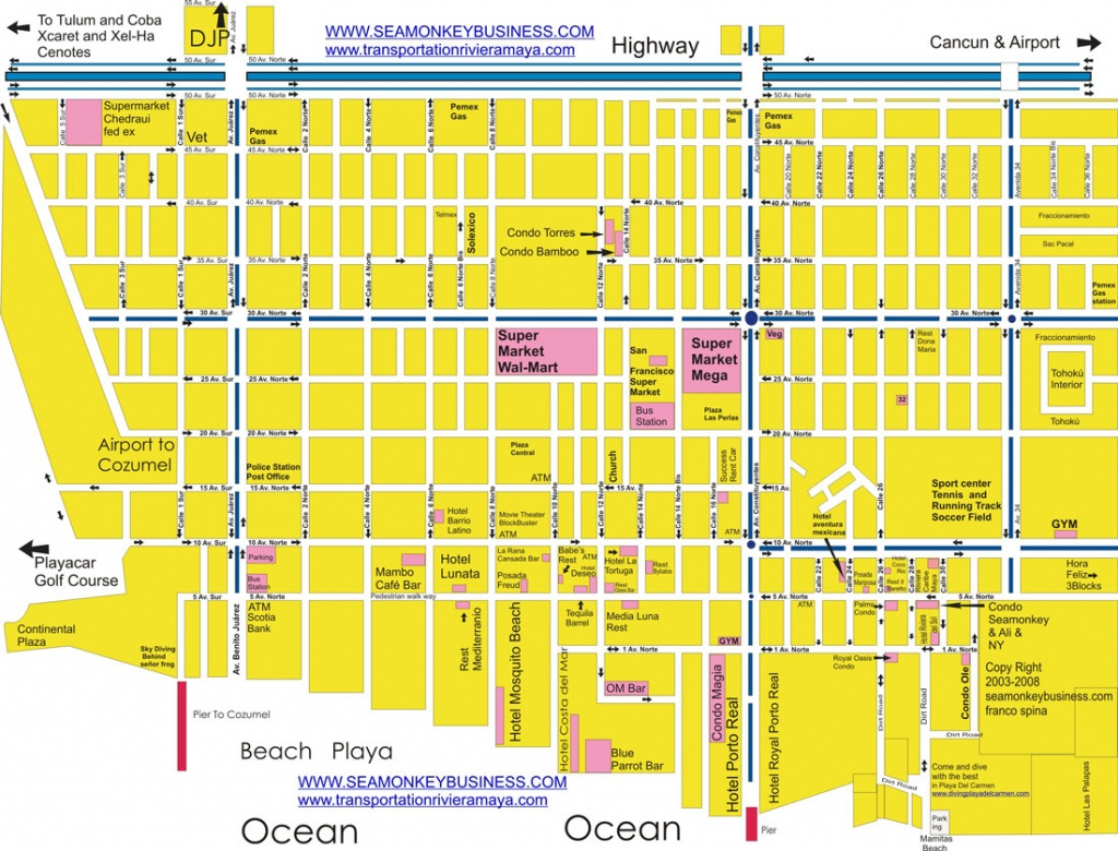 Maps Playa Del Carmen Quintana Roo Riviera Maya Map - Printable Map Of Playa Del Carmen