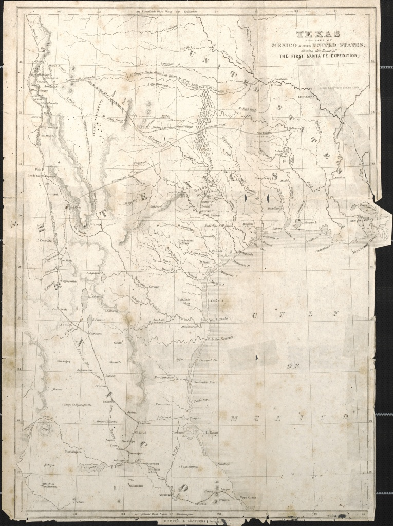 Maps: Texas And Part Of Mexico & The United States Showing The Route - Map Of Texas Showing Santa Fe