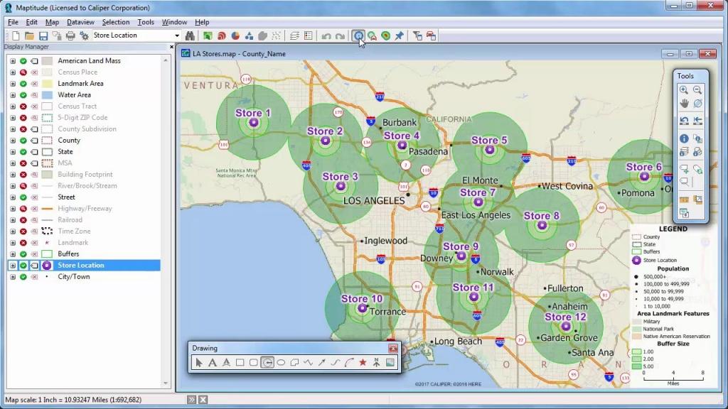 Maptitude 2018 Rings, Radius, Radii, Maps With Demographics - Youtube - Printable Radius Map