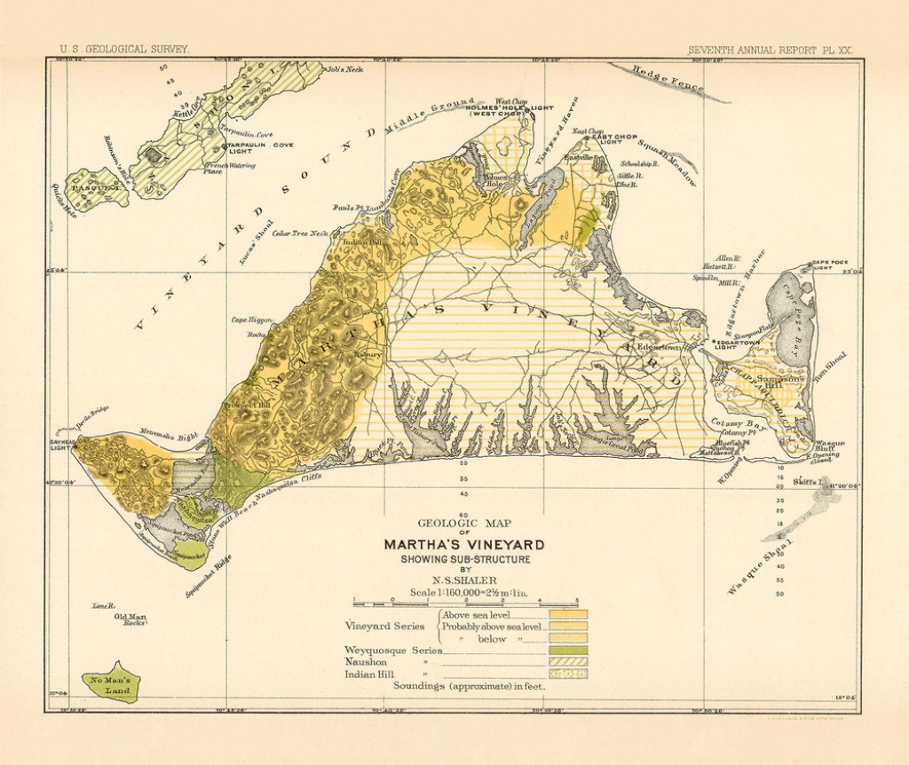 Martha's Vineyard Geology Map 1888-Yellow - Martha's Vineyard Map Printable