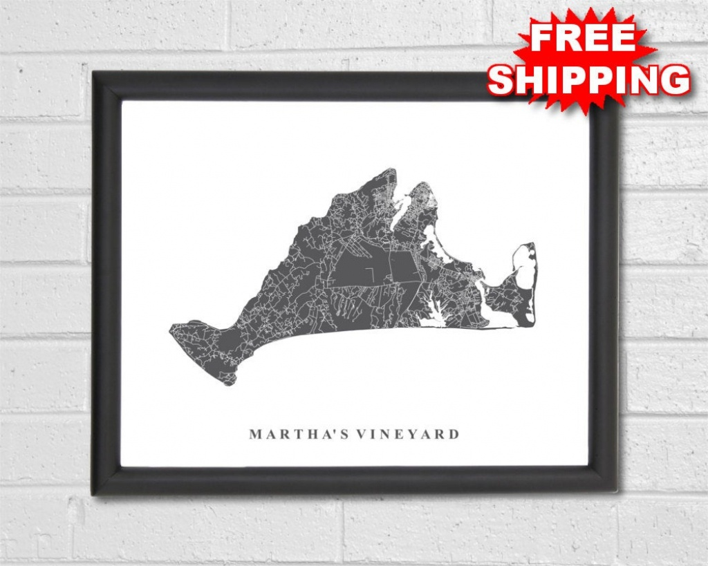 Martha's Vineyard Map Art Map Print Massachusetts | Etsy - Martha's Vineyard Map Printable