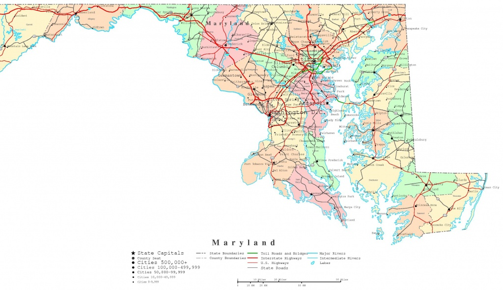 Maryland Printable Map - Printable Map Of Annapolis Md