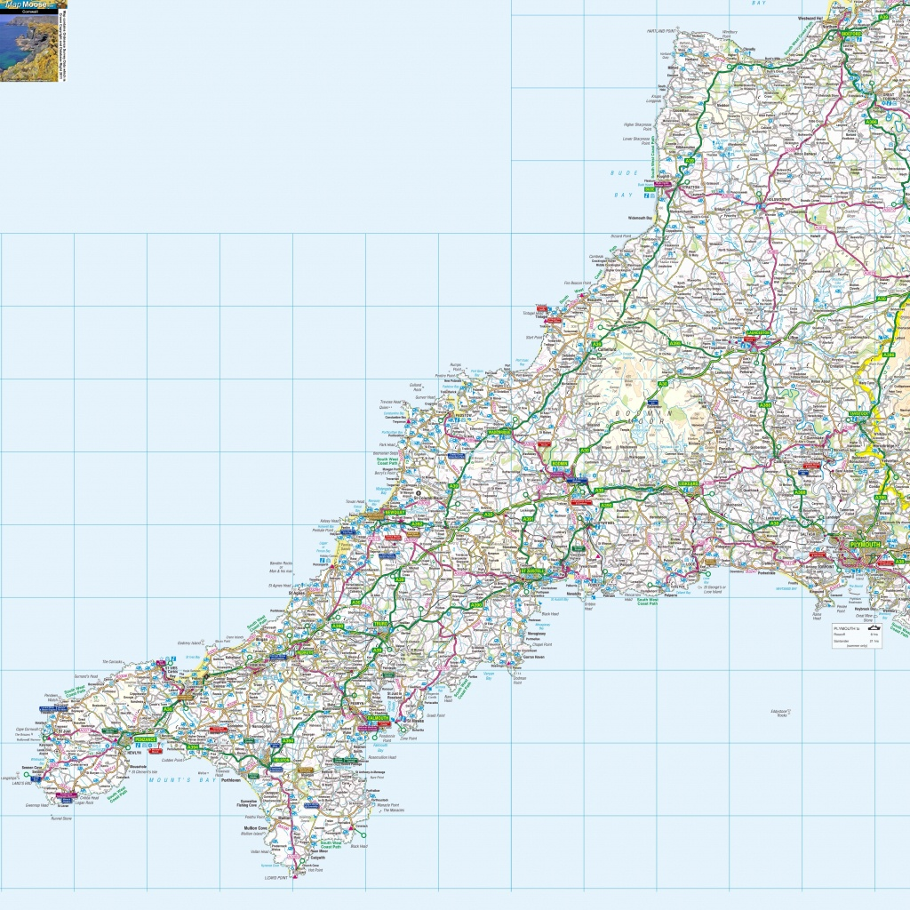 Massive Printable Downloadable Free Map Of Cornwall | My Cornwall In - Printable Map Of Cornwall