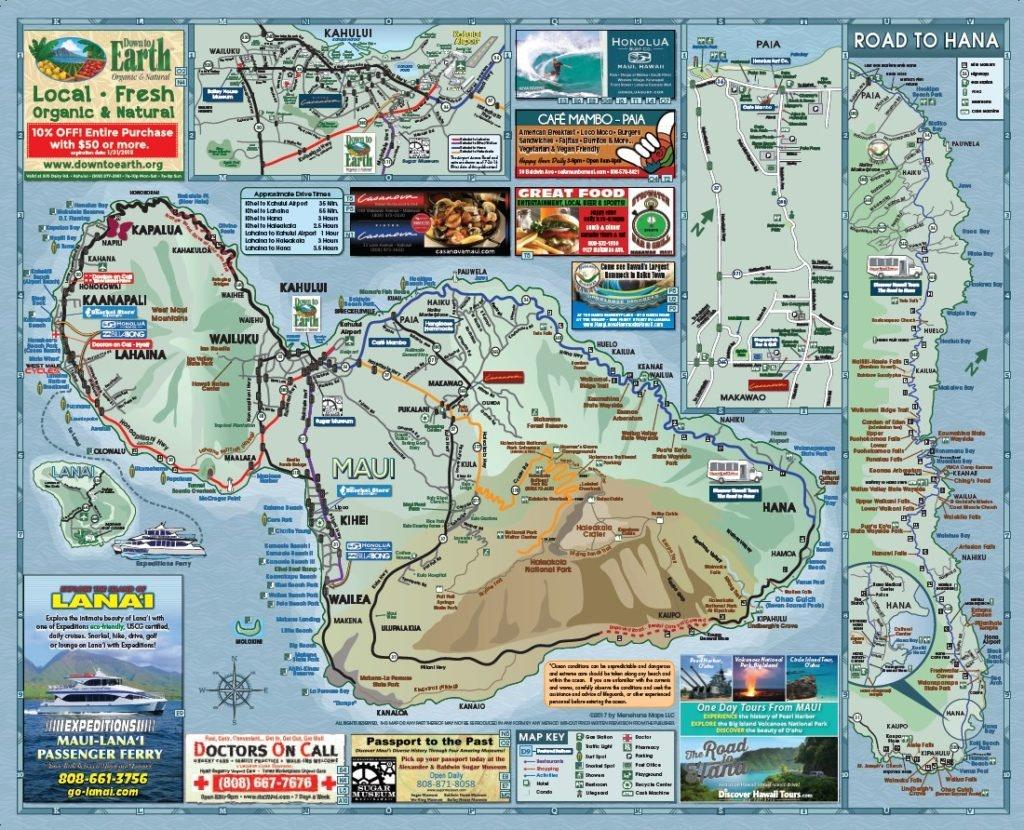 Maui Road Map | Menehune Maps - Printable Map Of Maui