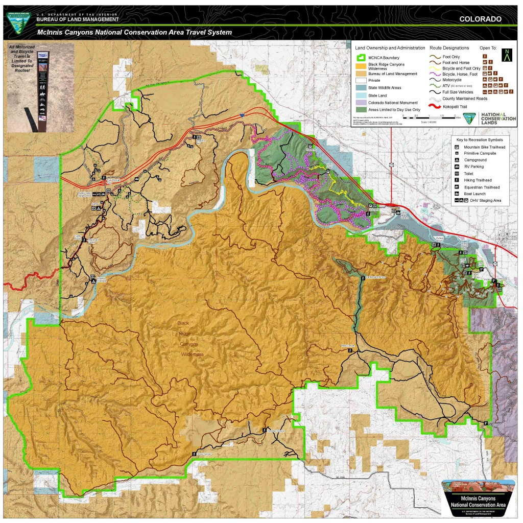 Mcinnis Canyons National Conservation Area (Mcnca) Travel Map - Blm Dispersed Camping California Map