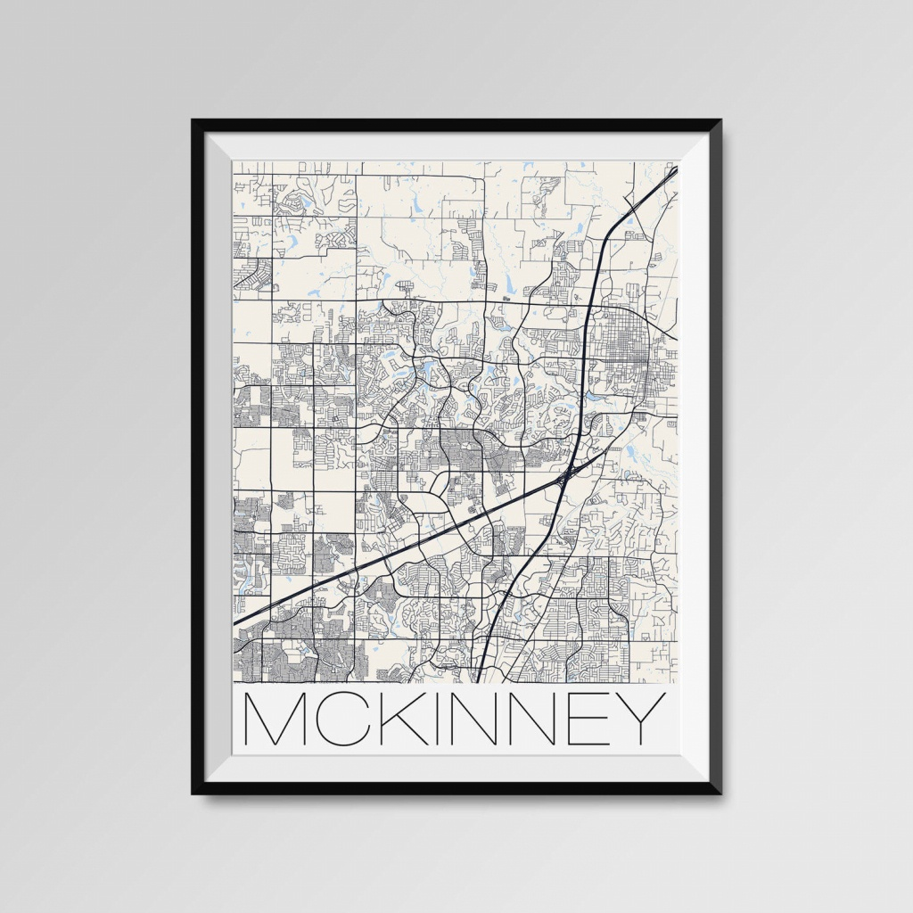 Mckinney Texas Map Mckinney City Map Print Mckinney Map | Etsy - Street Map Of Mckinney Texas